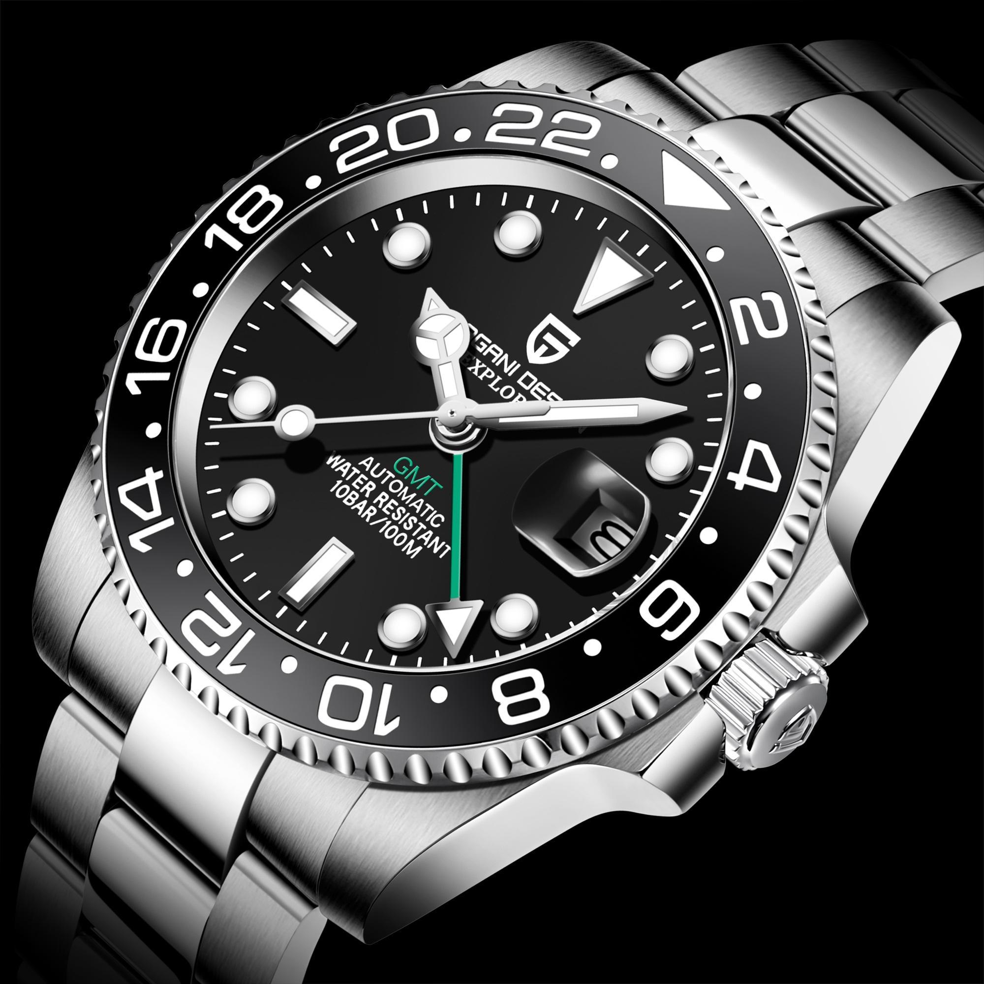 PAGANI DISEÑO 2020 hombres de lujo reloj mecánico de acero inoxidable GMT reloj superior de la marca de cristal de zafiro relojes de los hombres con la caja