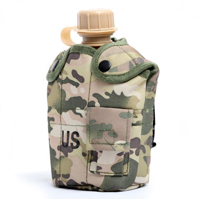 Sacs de plein air 1 Set Bouteille de bouteille d'eau Canteen avec bol en aluminium et sac de rangement pour randonnée Camping en plein air Couleur aléatoire