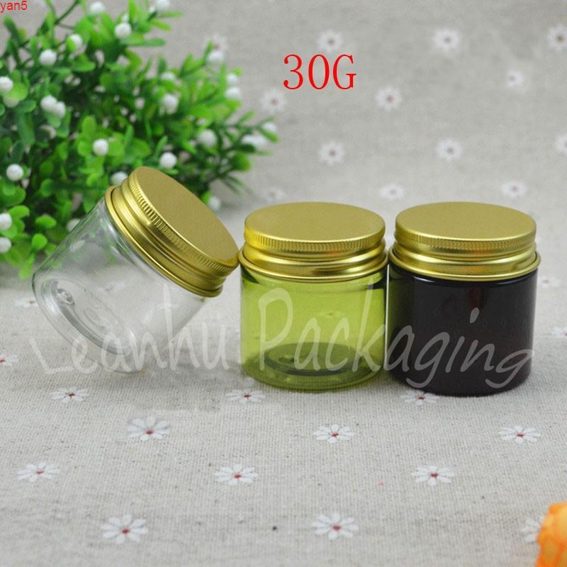 30 г пластиковая сливная банка с золотой винтовой крышкой, 30cc / маска для упаковки бутылки пустой косметический контейнер (50 шт / лот) высокий уровень качества