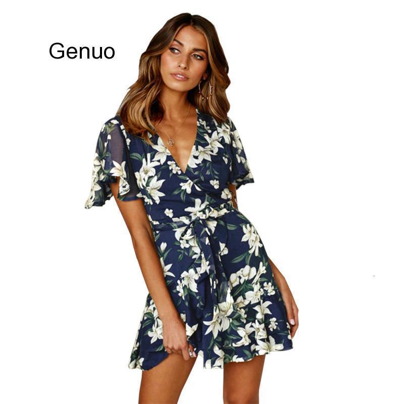 Sexy v шеи мини платье Женщины с коротким рукавом Цветочные Пояса Летние платья Туники высокой талией Ladies Sundress Женский 2020 Одежда
