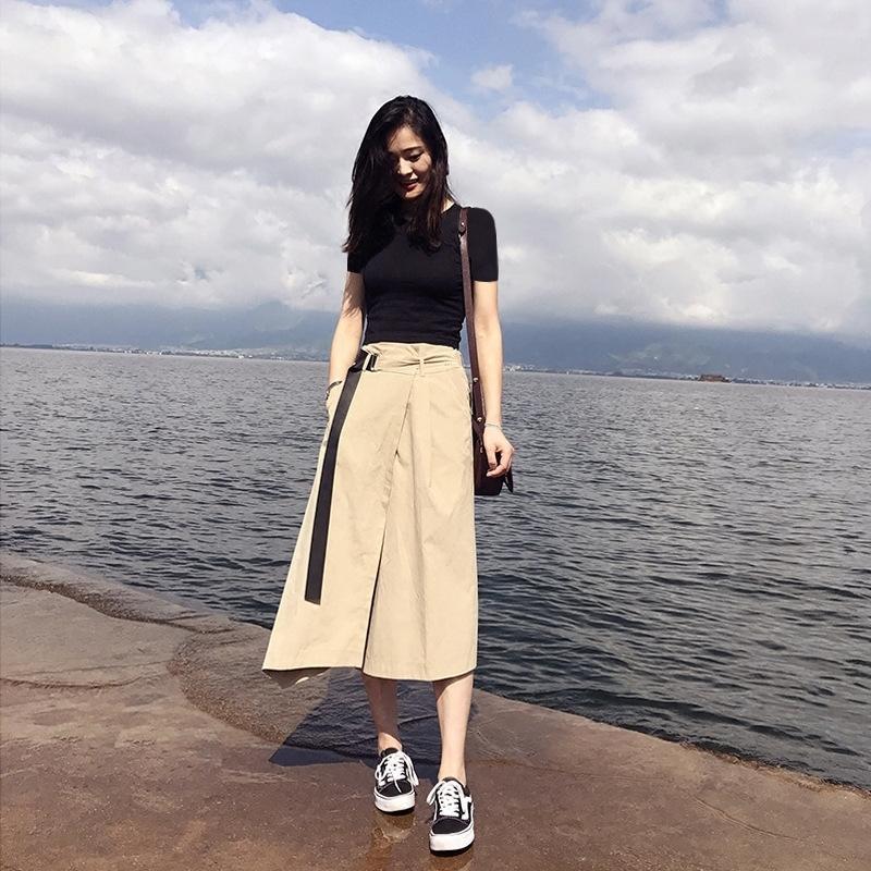 RwNEU women's Skirtvacation 2019 new seaside Dress SkirtBeach skirt Beach summer suit skirt mid-length Hong Kong style elegant two-piece dres