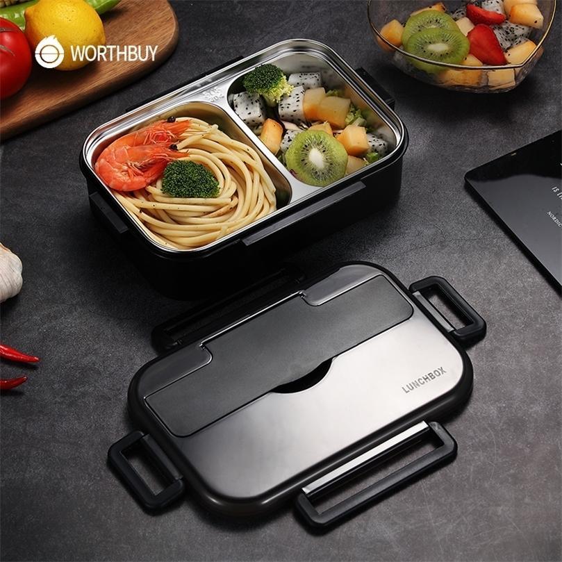 Worthbuy japonês crianças almoço caixa com compartimentos 304 caixa de aço inoxidável de aço inoxidável para crianças caixa de recipiente de alimentos com utensílios de mesa 201210