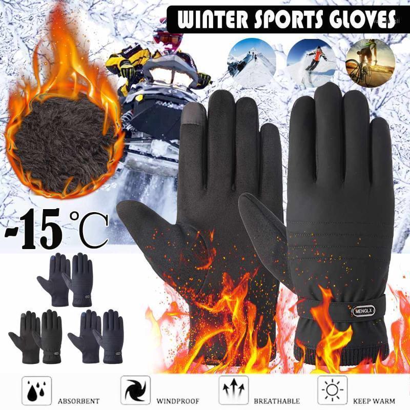 -15 градусов зимние теплые тепловые перчатки лыжные снежные сноуборд перчатки велоспорт сенсорный экран водонепроницаемый зима для мужчин женщин1