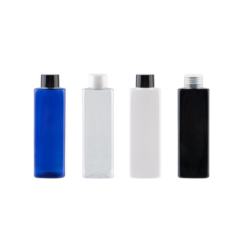 Оптовая 250мл прозрачные квадратные Пустые пластиковые бутылки Косметические контейнеры с крышками, 250cc массажное масло Упаковка ПЭТ