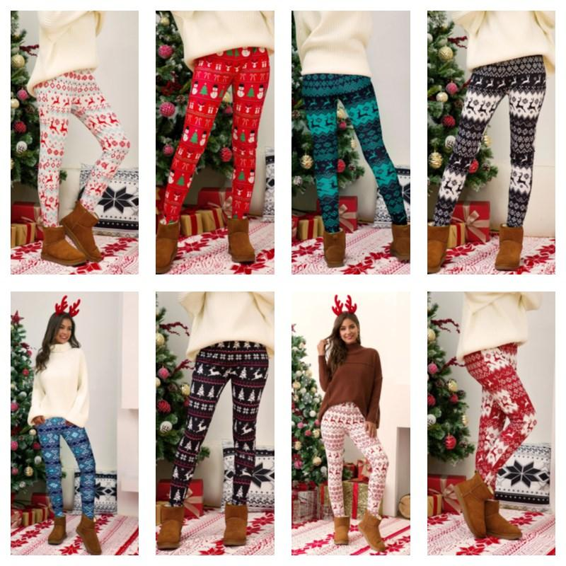 Plus Size Christmas Leggings Pant Xmas Tree Snowflake Elk Printing Pants Skinny Tights Legging Women Bootcut Slim Pants Trousers E111105
