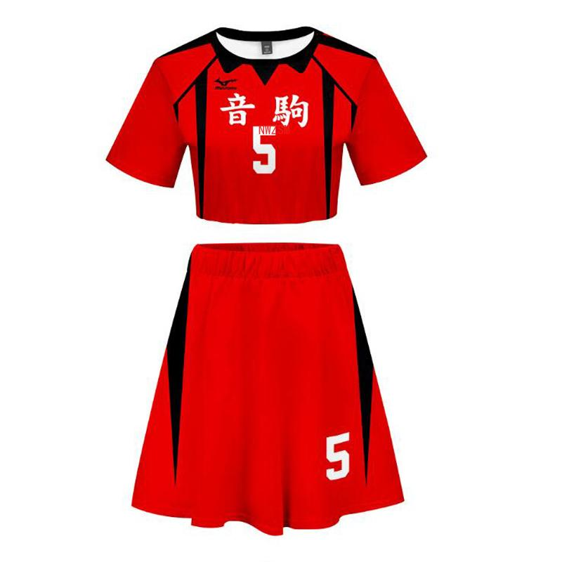Anime Haikyuu Hinata Shoyo Kageyama Tobio Cosplay Costume Karasuno High School Sexy 2 Piece Set Women Skirt and Top Outfits