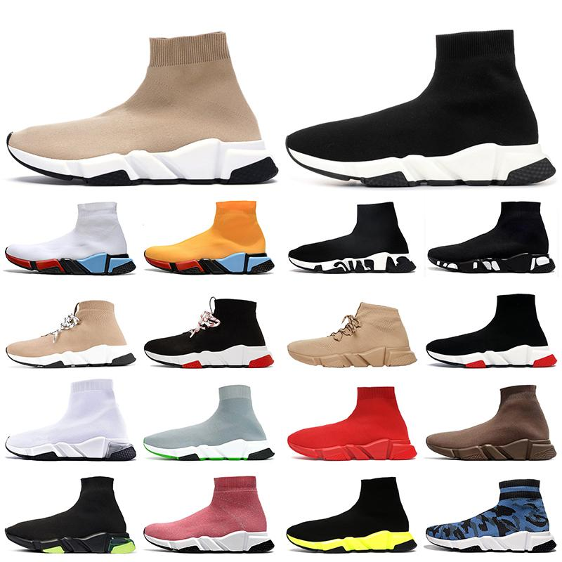 Top Fashion 2021 ACE Luxurys Designers Sock Shoes Womens Mens Casual Shoes Beige Black White Graffiti Flat Sock Boots Trainers Sneakers