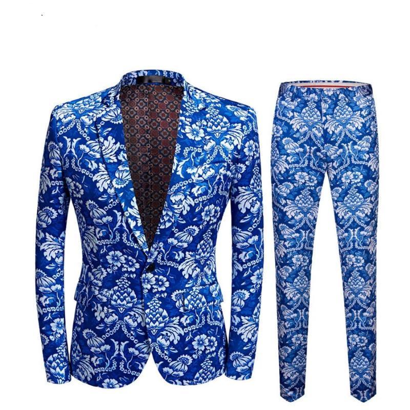 MSSNNG Brand New Mens Vintage blaue Blumendruck Slim Fit Anzüge mit Hosen Plus Size Anzug 5XL Veste Homme Mariage Bräutigam-Hochzeit