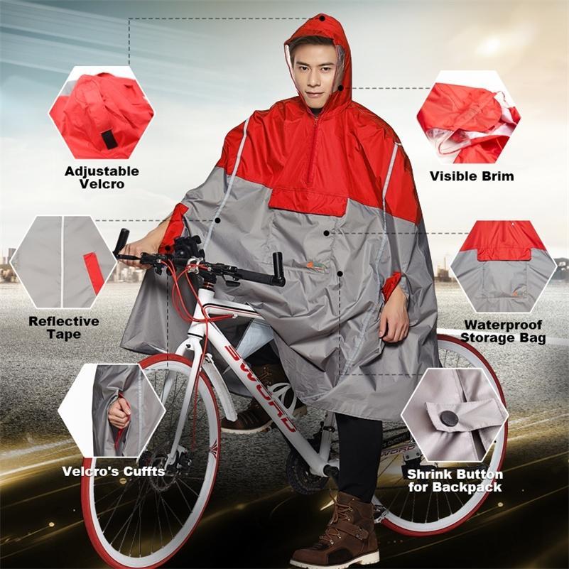 QIAN geçirimsiz Yağmurluklar Kadınlar / Erkekler Açık Yağmurluk Sırt Çantası Yansıtıcı Tasarım Bisiklet Tırmanma Yürüyüş Tur Yağmur Kapak Panço 201028