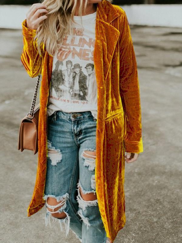Стиль Новый 2020 Мода золотая бархатная ветровка длиной юбка