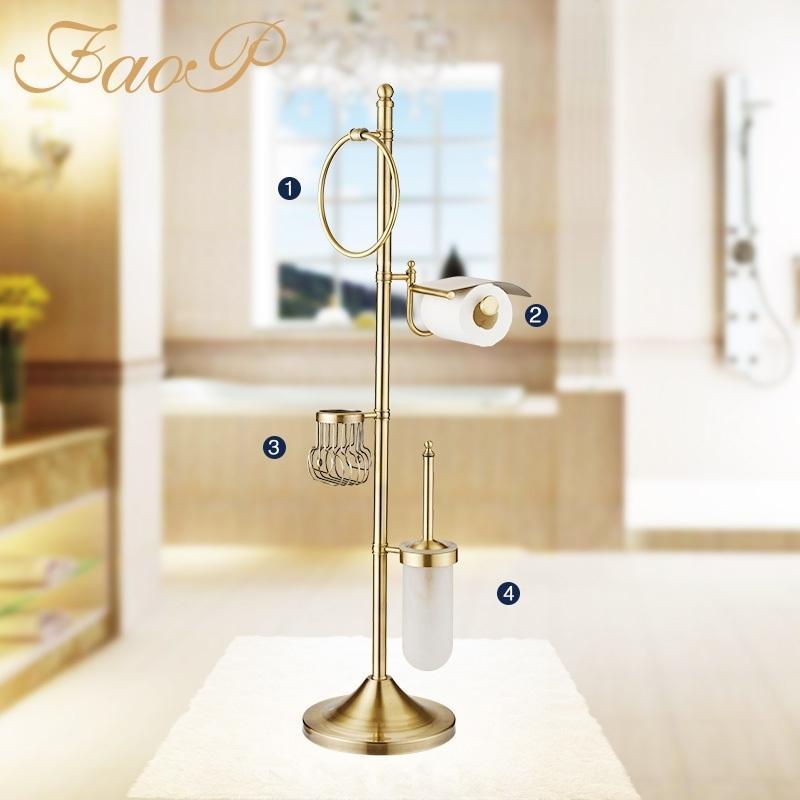 FAOP Badezimmer Toilettenbürste Inhaber Gold Antike Messing Handtuch Ring Rolle Whirlpool Hardware Sets Papierhänger Papierhalter Bad Handtuch T200425
