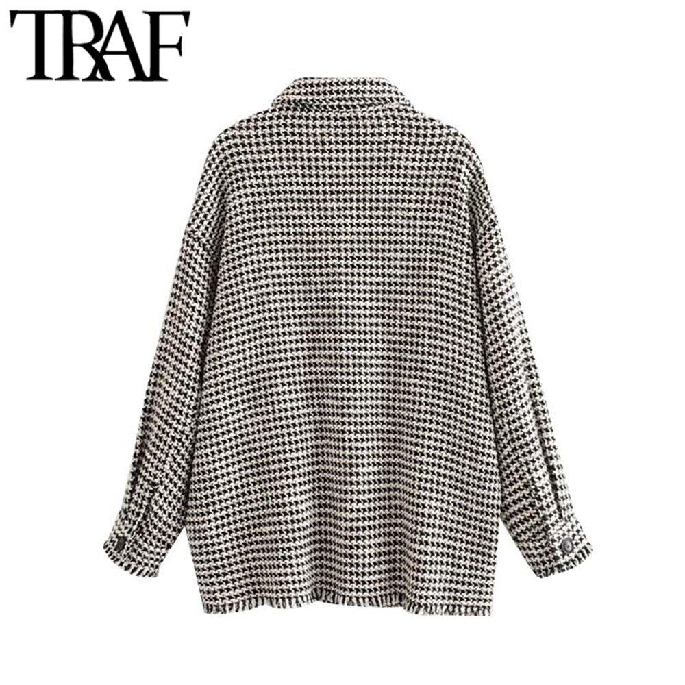 TRAF Mulheres Vintage elegante desgastado Tassel Oversized Tweed Plaid Jacket Brasão Moda manga comprida Pockets Casacos Chic Tops 201013