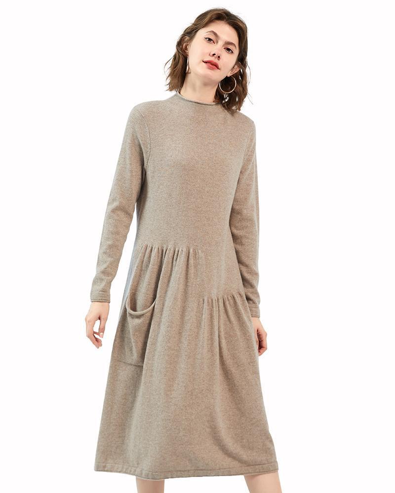 Женский женский 100% кашемир свободный подходящий пуловер длинный свитер сбросил подол вязаное Maxi платье