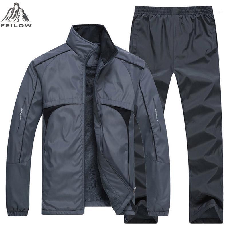 New Man Set Inverno Spessore Abbigliamento sportivo caldo Abbigliamento sportivo da uomo 2 pezzi Set Sport Suit Giacca + Pant Joggers Sweatsuit Tracksuit Tracksuit maschile L ~ 5XL1