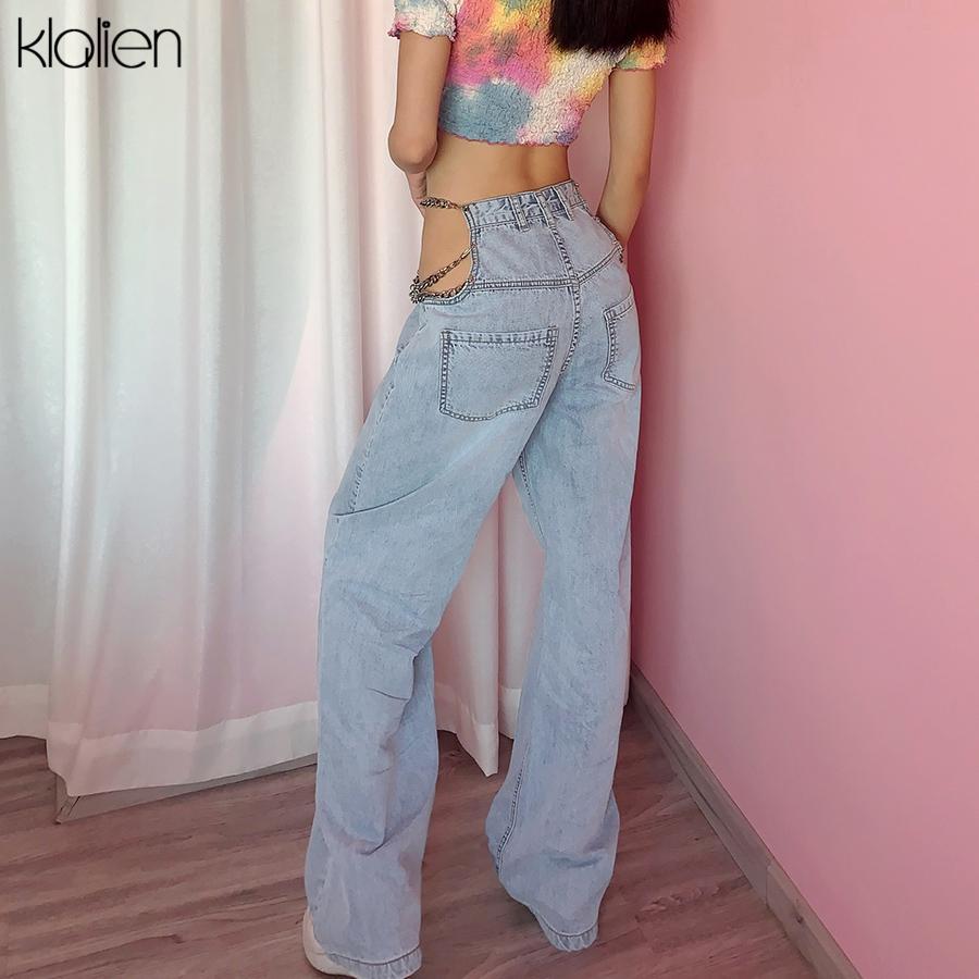 Klalien Fashion Casual Street Women Jeans Estate 2020 Nuova sexy Scava fuori Catena Zipper Blu A Blue High Stutol Pantaloni larghi ampi