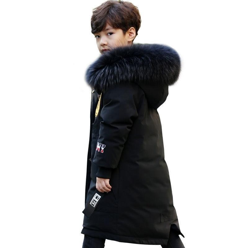 INS Hot Boy Хлопок пальто Зима плюс бархат толстая хлопковая куртка вышитая грудь значок с большим меховым воротником мальчики пальто зима 201103