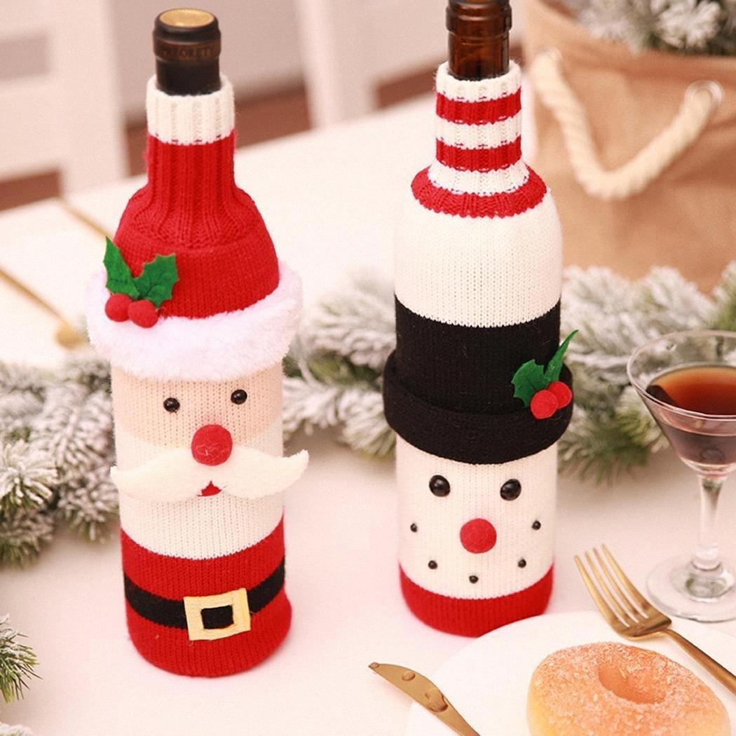 Partido suéter interesante botella reutilizable de navidad adornado Vino, Decoración cover set muñeco de nieve, Santa, ciervos tGEx #