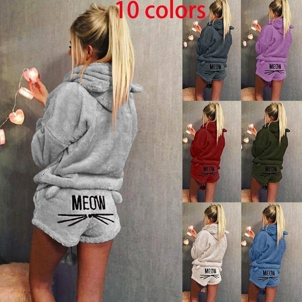 Women's Fashion Solid Color Hoodie and Short Pants Two Pieces Set Pajamas Lady Winter Nightwear