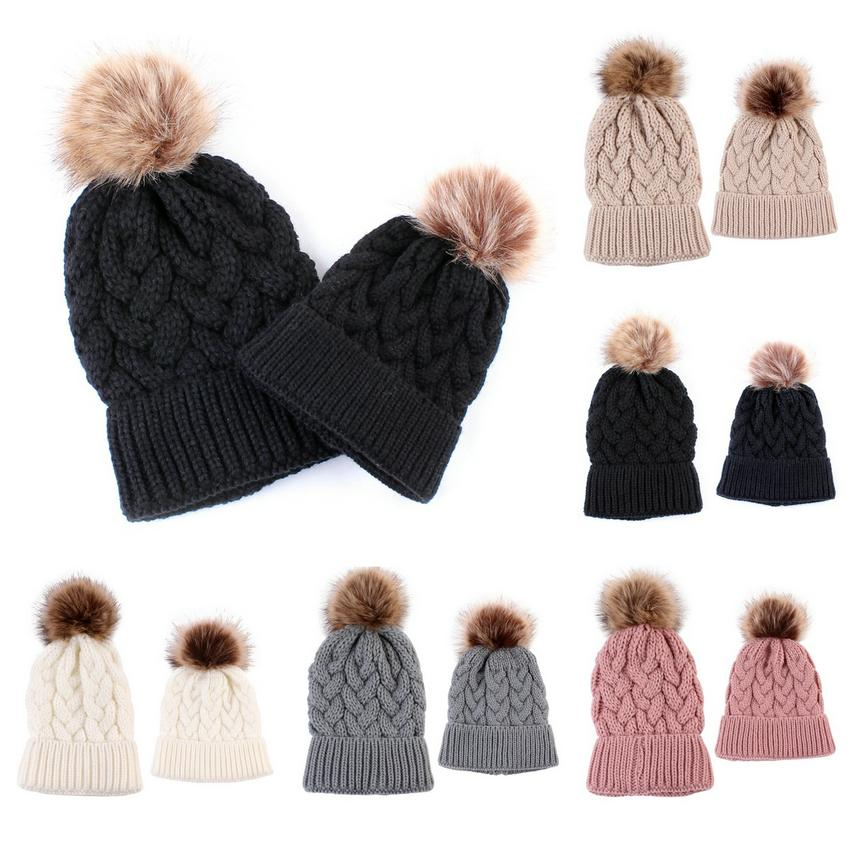 2020 New Parent-child Knitted cap 5 Colors Winter Warm Hemp flower design process Knitted Caps Outdoor Beanie