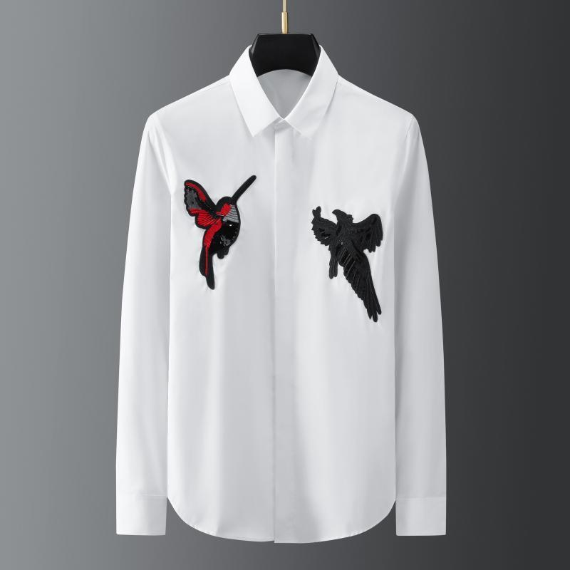 Hommes Casual Shirts Minglu Coton Mâle Mâle Manches longues à la manches longues à paillettes Causse de la broderie Causale Hommes Robe Mode Slim Fit Party Man
