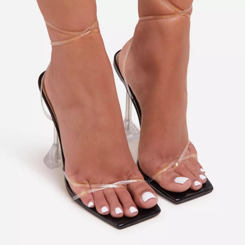Dyzhy Fashion Crystal Heel Sandalias Mujeres Nuevo Verano Moda de gran tamaño Tacones Altos Zapatos de Mujer Stiletto Roman Fairy35-42