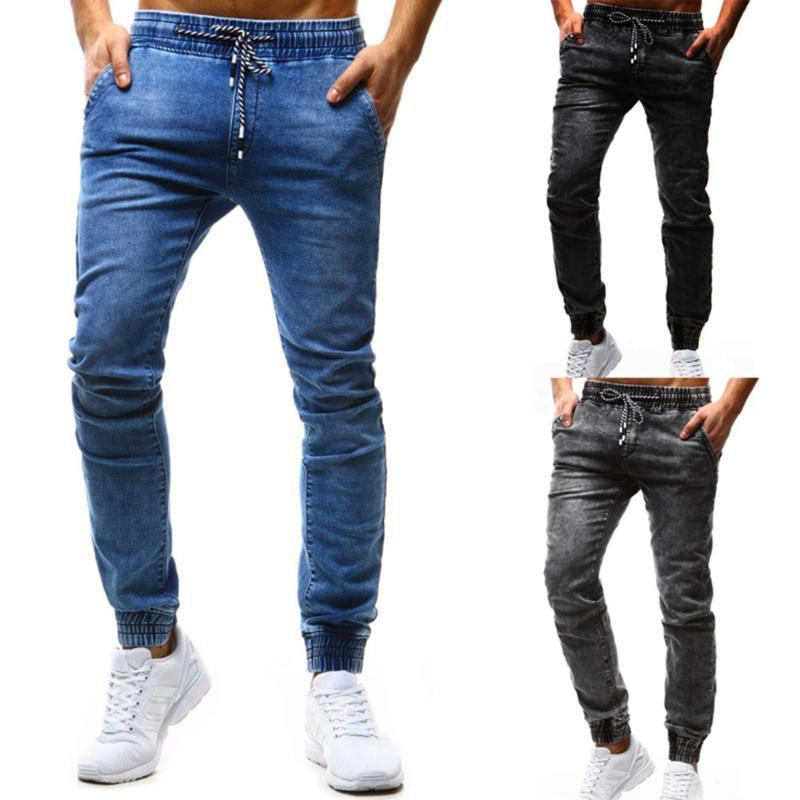Jeans Uomo 2020 di nuovo modo Men Casual Pure Color coulisse Business Casual Slim Hip Hop Jeans Pants
