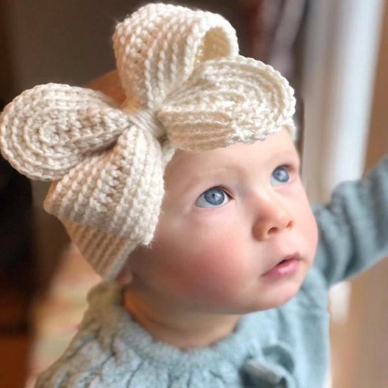Moda Bowknot Bebé Hairbands de punto Hats Headbands Elástico Turbante Sólido Headwear Head Wrap Accesorios de banda de pelo
