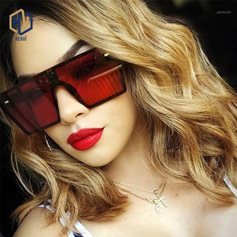 Oversized Square Sunglasses Mulheres 2020 Moda Flat Top Vermelho Vermelho Lente Clear Lente Um Peça Homens Gafas Sombra Espelho UV4001