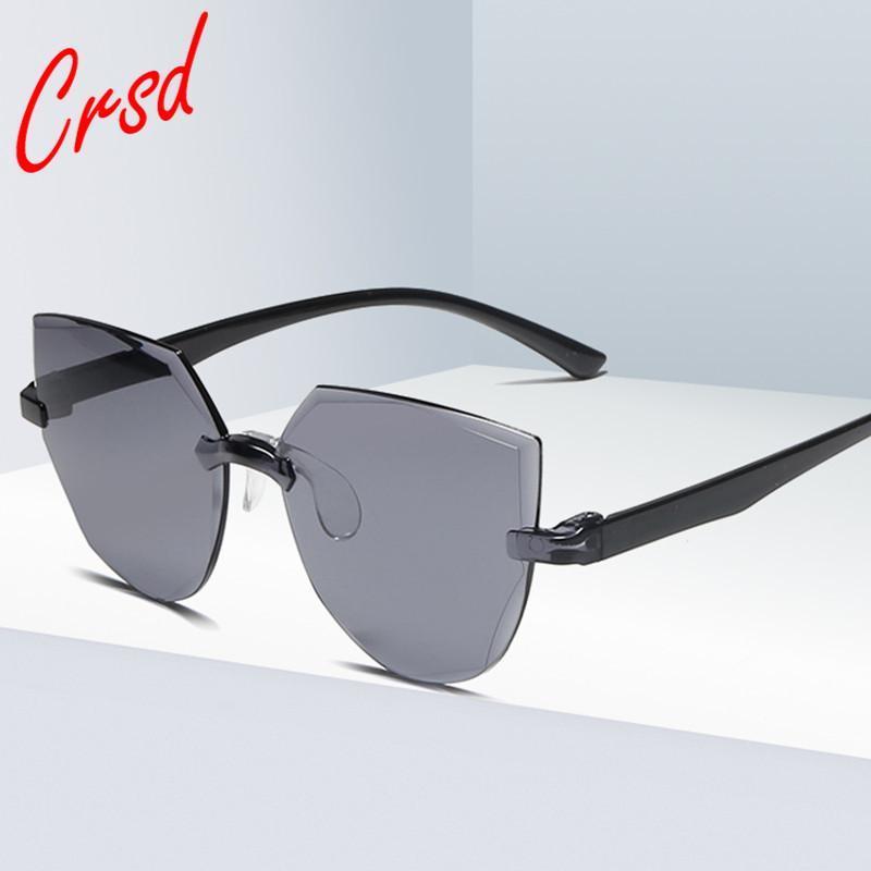 CRSD 2020 mujeres del ojo de gato gafas de sol del océano integrados sin marco de una sola pieza del color del caramelo transparente Gafas de sol de moda Streetwear