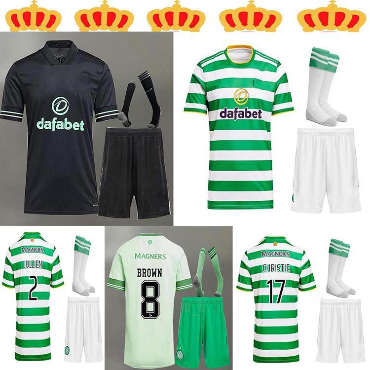 20 21 Celtic FC Soccer Jersey McGregor Griffiths 2021 Klimala Forrest Rogic Christie Edouard Casa Infantil + Meia dos homens