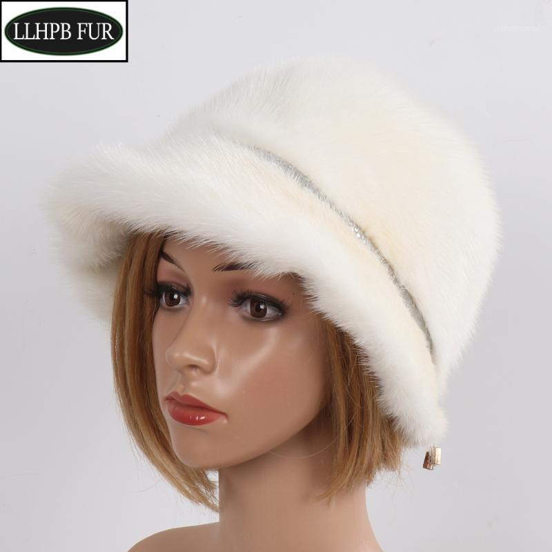 2020 Winter Frauen Luxus Gute Qualität 100% Echt Fedoras Hüte Natürliche Pelzkappen Mädchen Warm Full Pelt Original Hat1