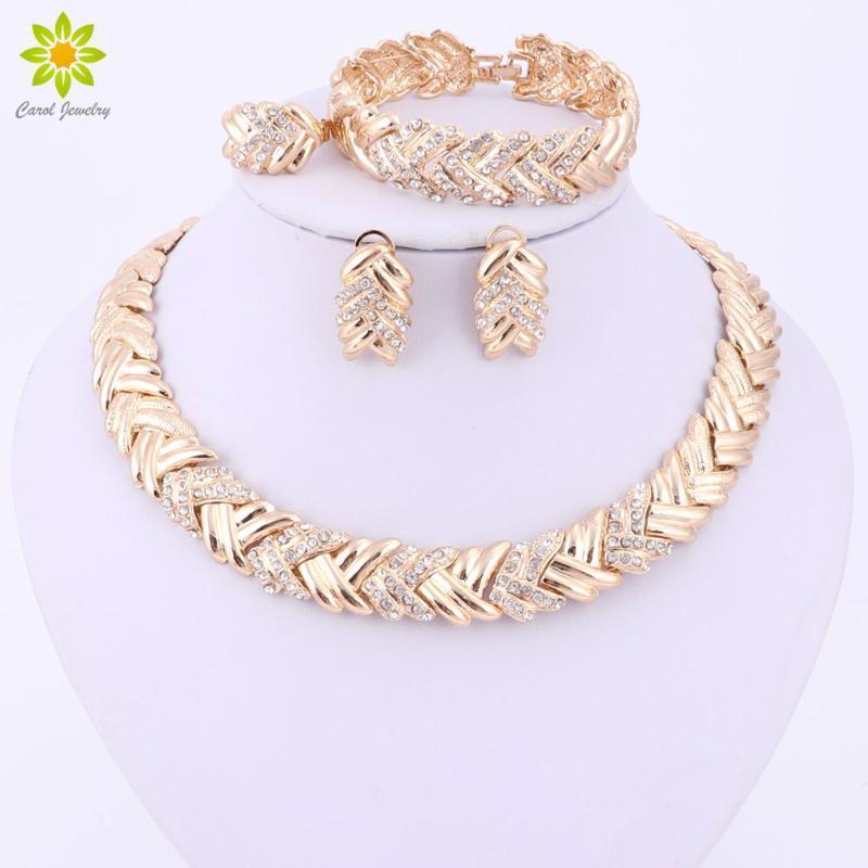 Ganz Verkauf2017 Mode Dubai Gold Farbe Schmuck Sets Kostüm Big Design Gold Farbe Nigerianische Hochzeit Afrikanische Perlen Schmuck Sets1