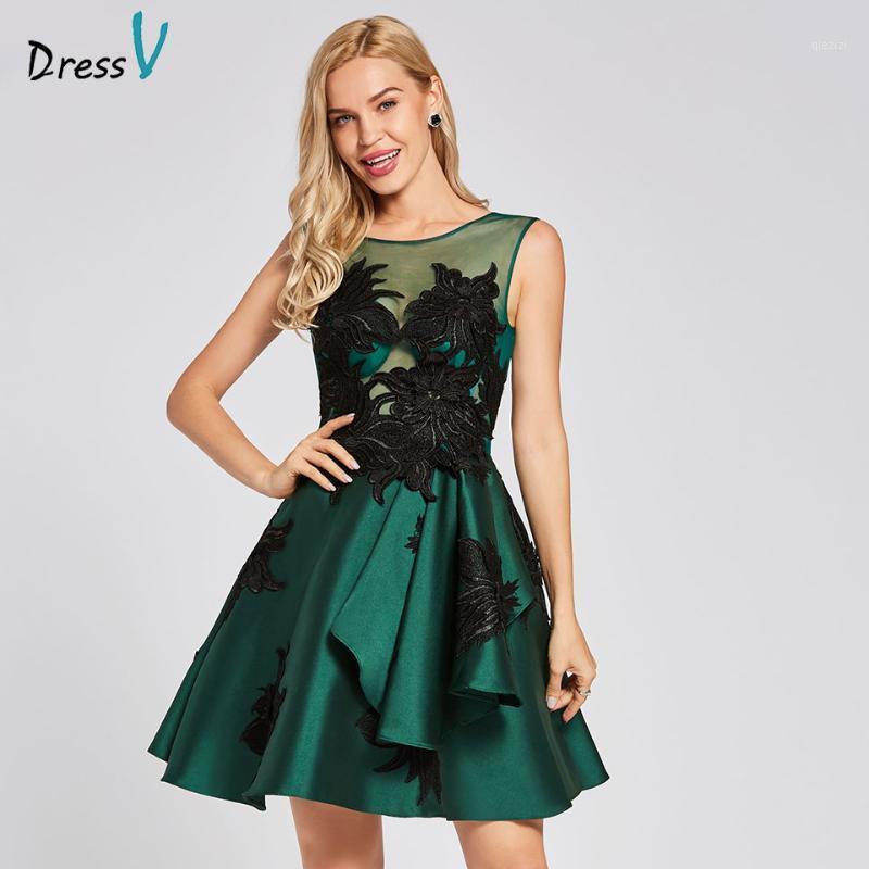 Dressv escuro verde coquetel vestido barato colher pescoço uma linha mangas graduação festa vestido elegante moda cocktail11
