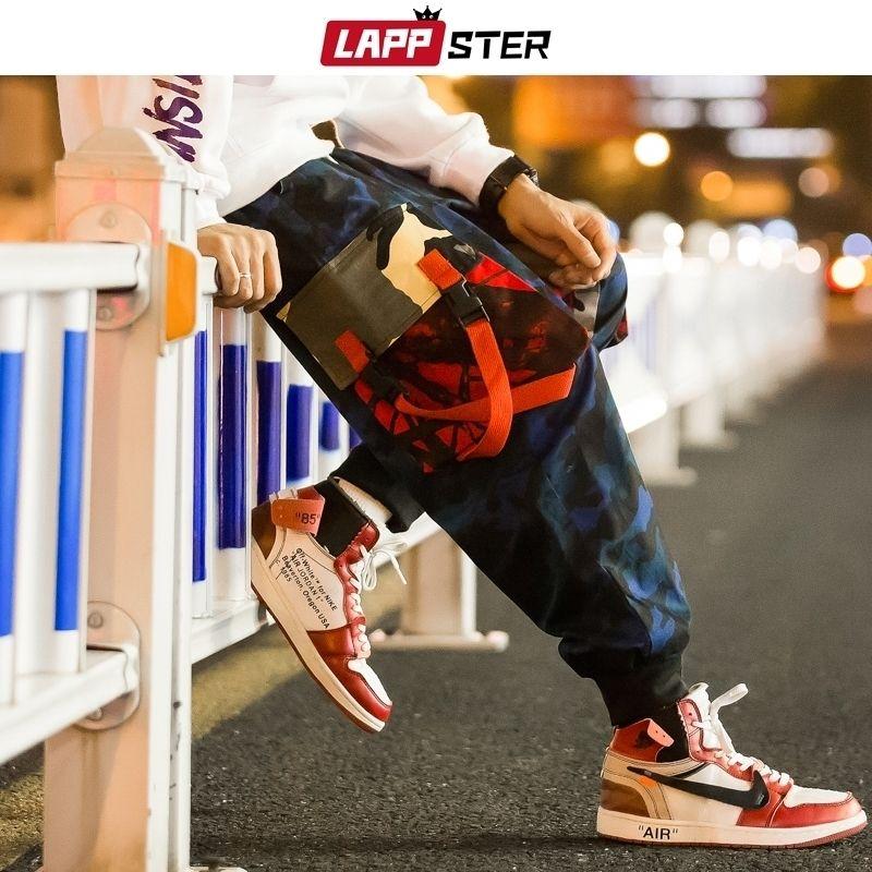 Lappster Männer Tarnung Cargo Pants Harem Hosen Herren Hip Hop Bänder Sweatpants Harajuku Jogger Camo Pants Plus Size 201109