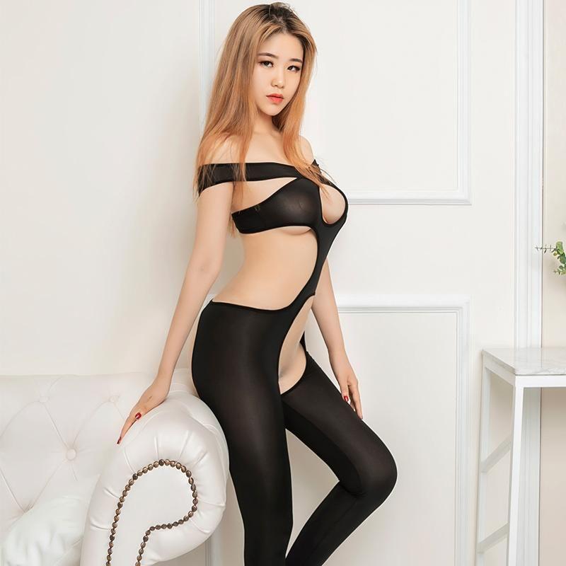 Mujeres Super Thin BodySuit Hight Elastic Club de noche Disfraces Sexy Open Crotch BodySuits Ver a través de los emisiones sin respaldo