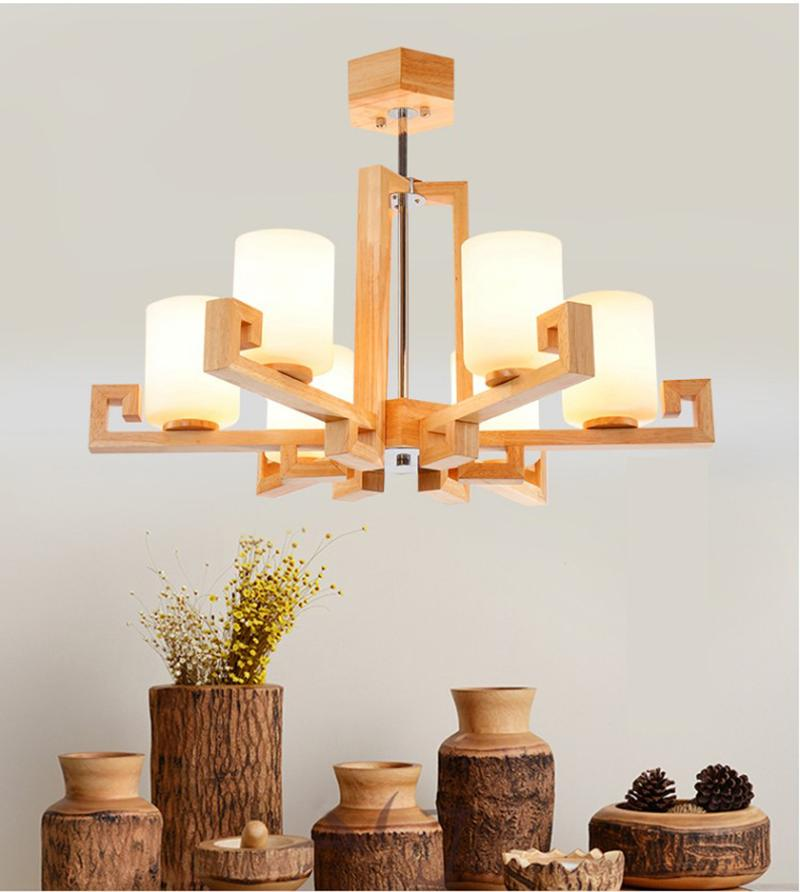 Северная твердая древесина люстра простая творческая личность светлый новый китайский стиль искусства гостиная свет светодиодный японский стиль бетро