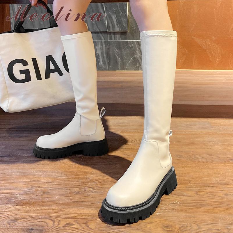 Plataforma de couro real salto médio montando mulheres sapatos grosso saltos deslizamento no alongamento da moda do joelho longo