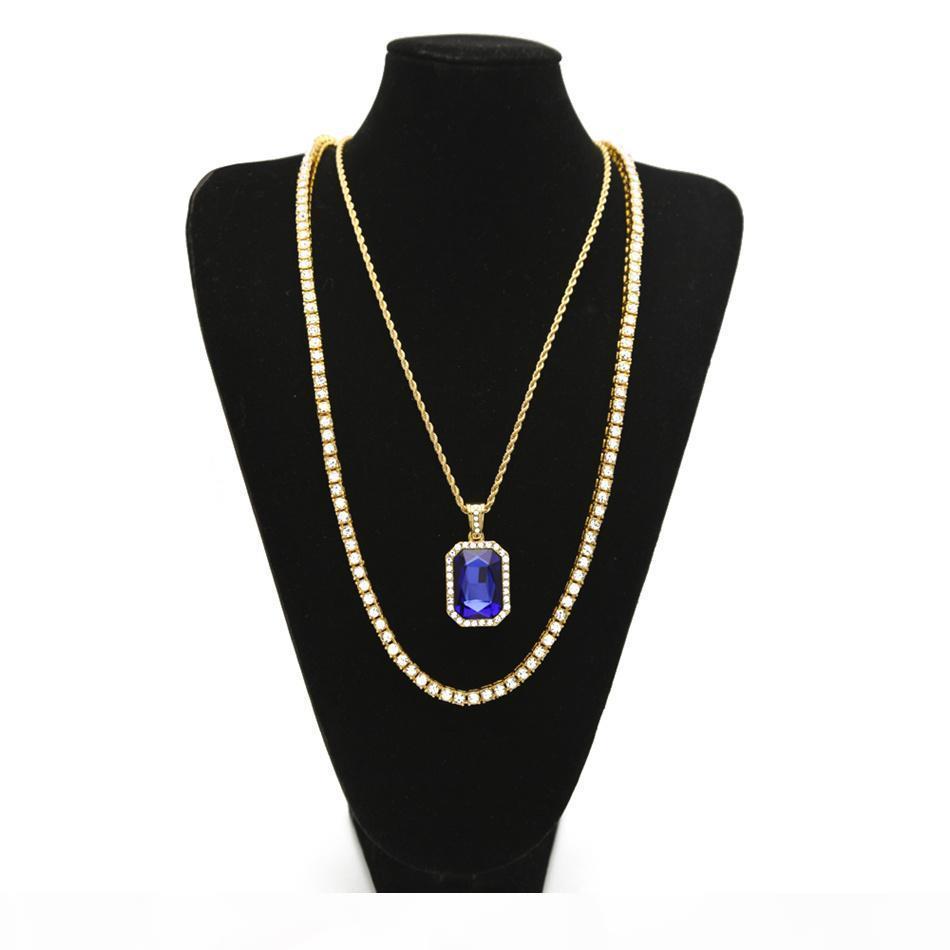 Set di collane per uomo hip hop Set di catena di strass con la catena di strass con piazza rossa blu cristallo collane collane gioielli set