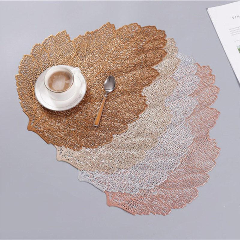 4 couleurs feuilles creuses plafonniers de table de simulation plante plante de table Tapis de table Tapis de cuisson de cuisson isolant tampon d'isolation étanche curseur de bol de bol de bureau décor de bureau
