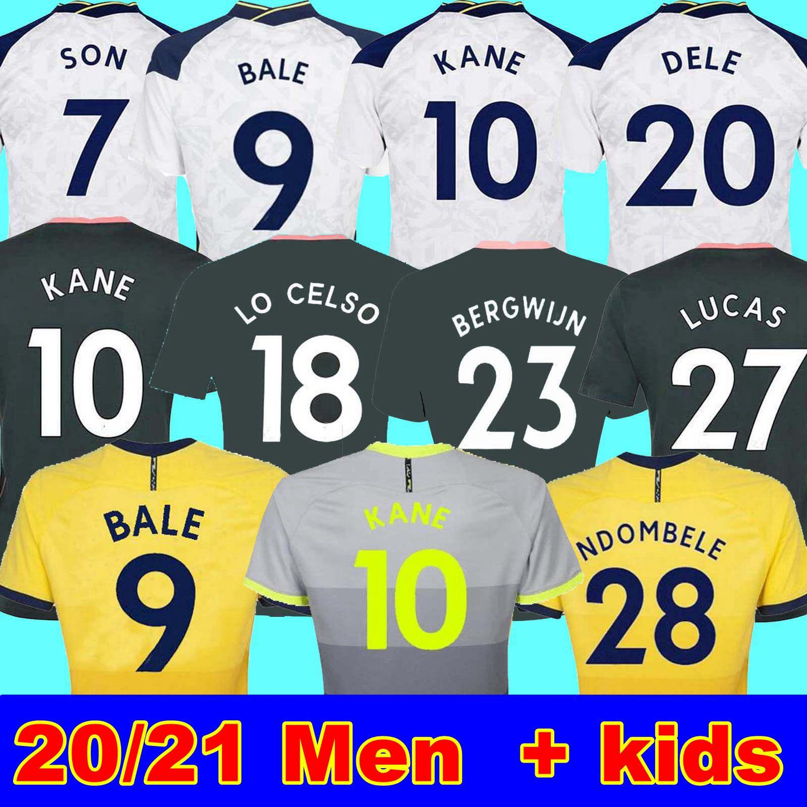 20 21 Kane Son Bergwijn Soccer Jerseys Winks 8 Lucas Dele Fourth Tottenham Football Kit قميص Bale Ndombele 4th قمم الرجال الاطفال مجموعات الجوارب