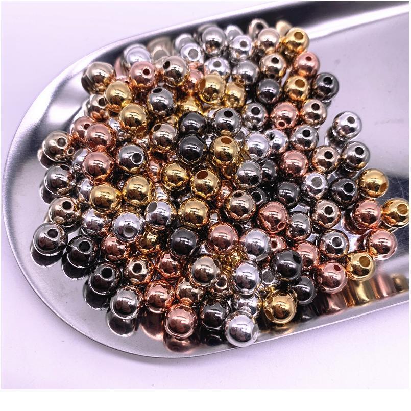 Nouveau 300-30pcs 3/4 / 5/6 / 8/10mm rond CCB Perles d'entretoise lâche perles d'entretoises pour bijoux Faire de l'artisanat bricolage Collier JLLHIT