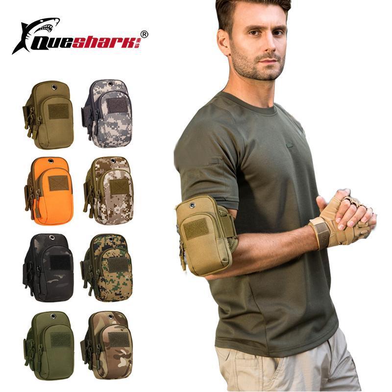 Cinturón Repelente de Agua Multifuncional táctico del camuflaje del bolso del bolso del teléfono móvil de pesca que abarca bolsillos brazo de la bolsa