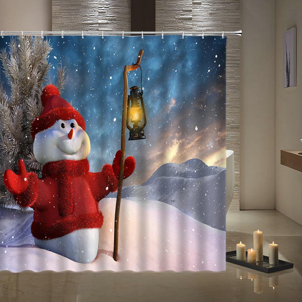 White Snowman Print Душевая занавеска Счастливого Рождества Фестиваль Украшение Дома С Крючком Ванная комната 3D Водонепроницаемый Полиэстер Занавес F1222