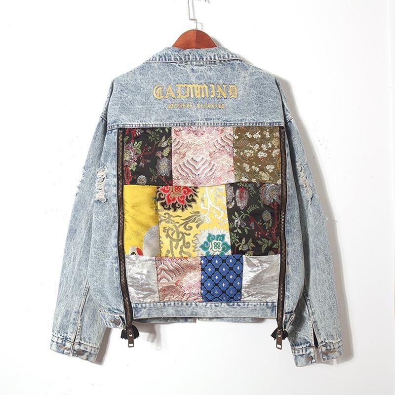 Rompevientos bolsillo grande bordado dril de algodón de la chaqueta de las mujeres del otoño del solo de la chaqueta de lentejuelas mujeres de pechos Jean