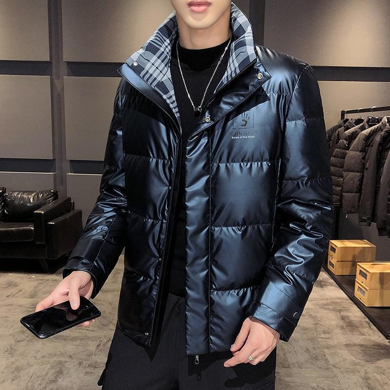 Пищевая зима Новый Хлопковый Яркий Письмо вниз Куртка и Густой Модный Пальто Ночь Ночной Отражающий