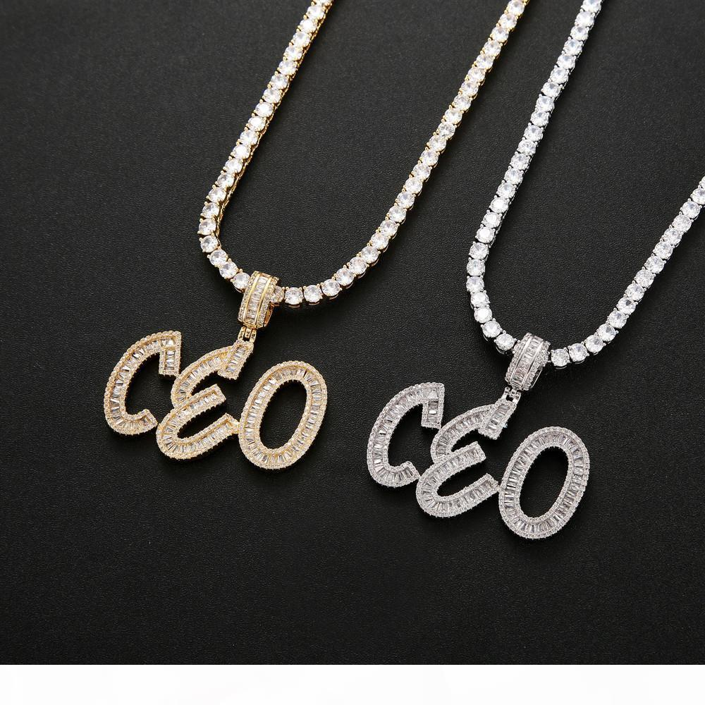 Hip Hop Custom Name Baguette Buchstaben Anhänger Halskette mit freier Seilkette Gold Silber Bling Zirkonia Herren Anhänger Schmuck