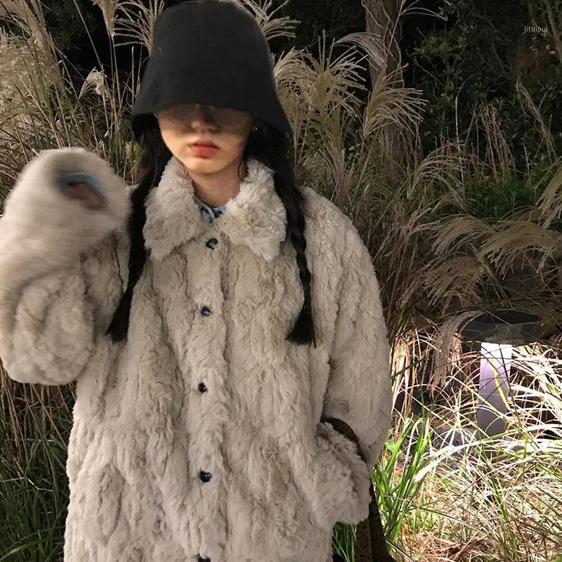 Faux Fur Thick Warm Furry Coat Jacket for Woman 2020 Autumn Winter Designer Luxury Clothing Harajuku Kpop Korean Style1