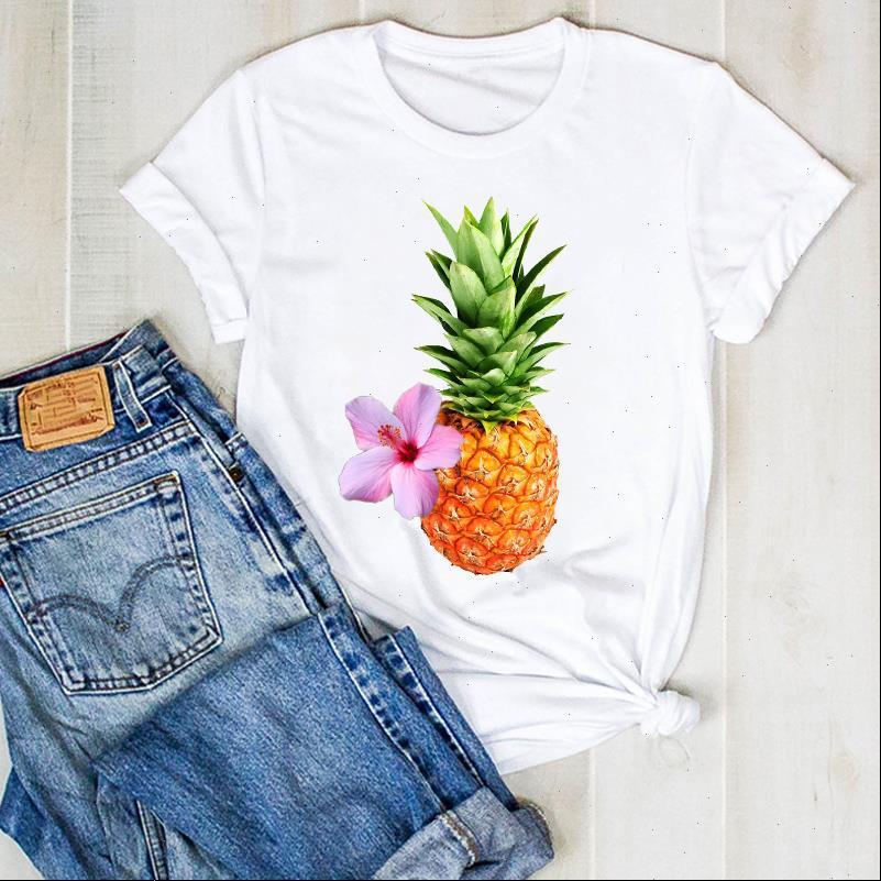 Femmes Lady Ananas Flower Imprimer Fruit 90s Mesdames Été T T-shirt T-shirt Femme Tête Chemise Vêtements T-shirt graphique