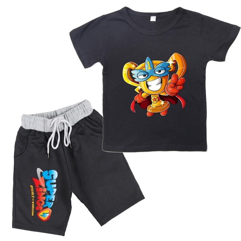 New Summer Baby Boys Super Zings Series 4 T-shirt + Shorts Imprimir Superzings Crianças Meninas Terno Casual Crianças Conjuntos de Crianças Y200325
