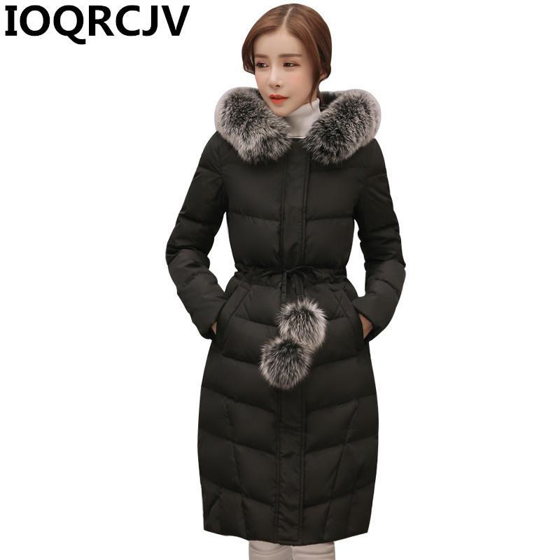 2020 New Hooded Fur Collar Winter Jacket Casual Long Warm Women Casaco Feminino Fashion Parkas Padded Cotton Outwear Coats R785